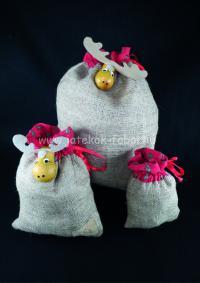 Karácsonyi zsák, közepes, szarvas fejjel